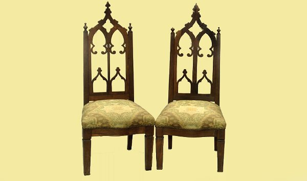 100: Pair of Antique Walnut Gothic Chairs