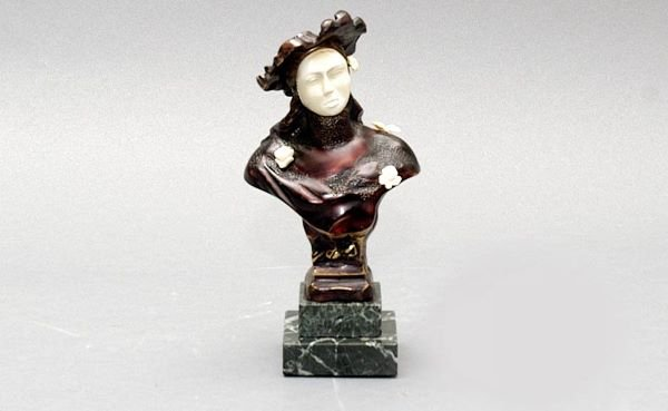 102: Bronze and Ivory Bust of a Lady