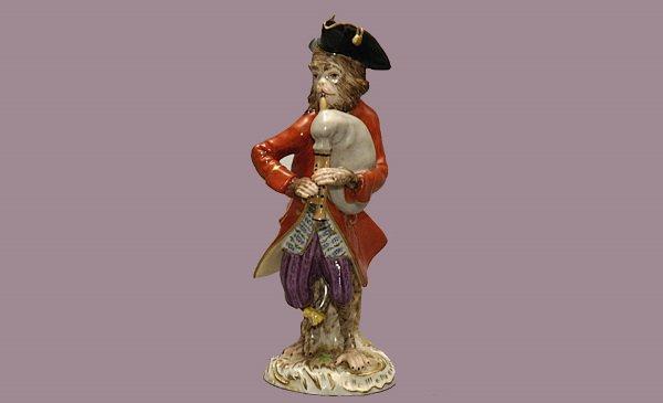 105: Meissen Porcelain Monkey Figurine