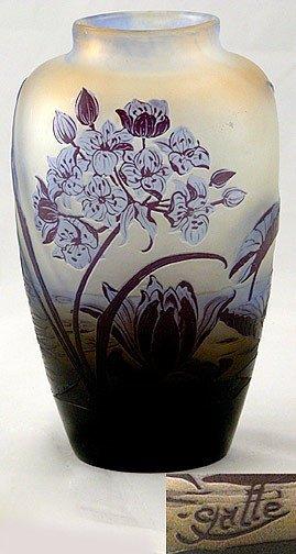 110: Galle Cameo Art  Glass Vase
