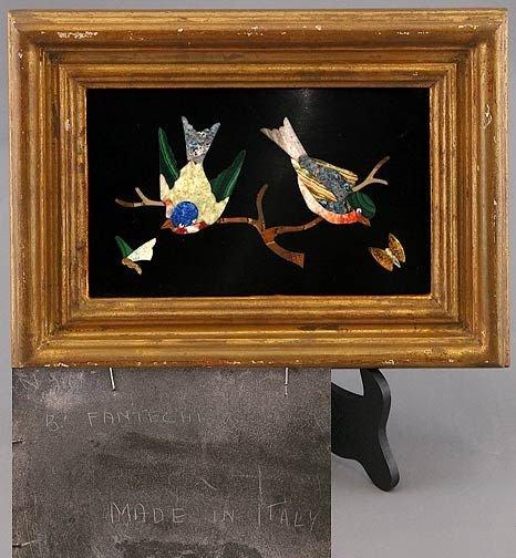 113: Italian Pietra Dura Framed Plaque of Two Birds
