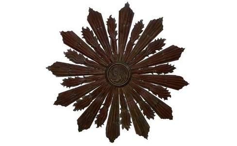 258: Vintage Dark Stained Large Carved Wood Sunburst