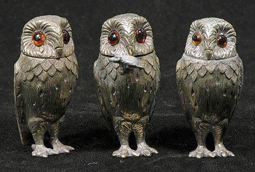 116A: Tiffany & Co Sterling 4 Piece Owl Figural Salt n