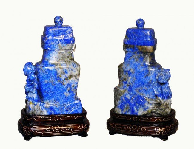 7: CARVED LAPIS LAZULI VASE AND COVER