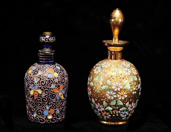 14: TWO UNSIGNED MOSER GLASS SCENT BOTTLES