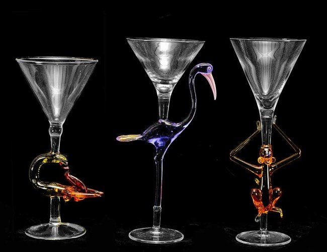 15: GROUP OF FIVE MURANO COCKTAIL GLASSES