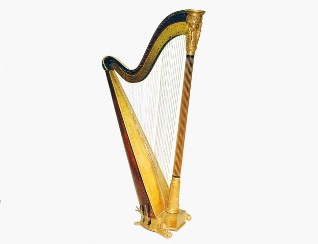 128: CARVED AND GILTWOOD HARP