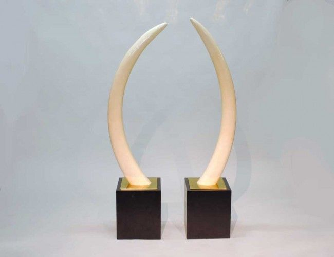 PAIR OF UNCARVED IVORY TUSKS