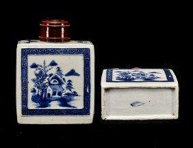 307: BLUE AND WHITE PORCELAIN TEA CADDY