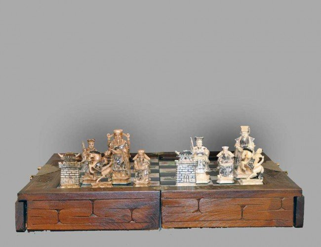 312: CARVED IVORY CHESS SET