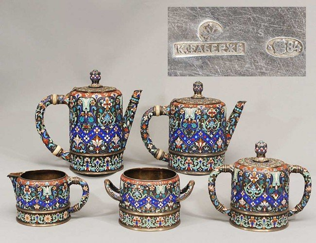 422: IMPORTANT FIVE PIECE FABERGE SILVER AND ENAMEL TEA