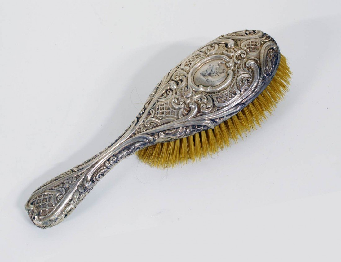 4: THREE PAIRS OF STERLING SILVER BRUSHES