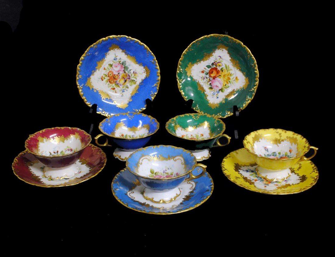 6: SET OF SIX DRESDEN PORCELAIN CUPS AND SAUCERS