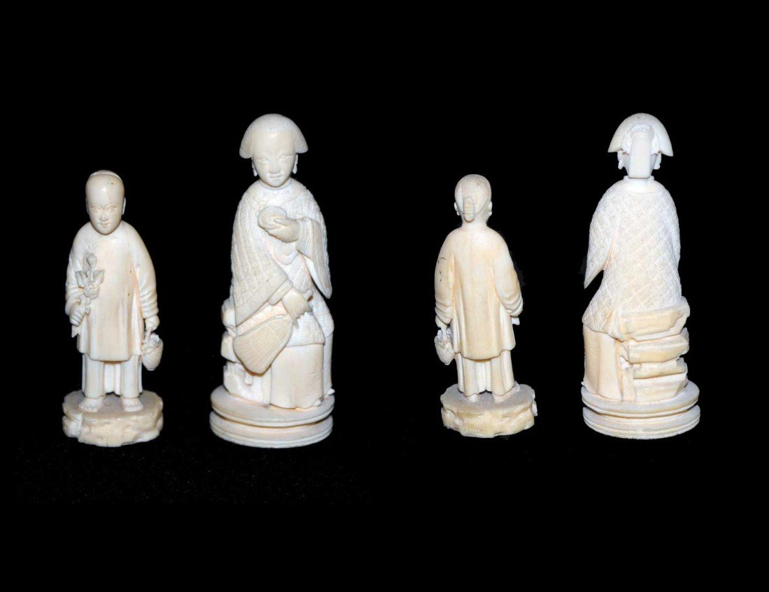 15: TWO CARVED IVORY FIGURES