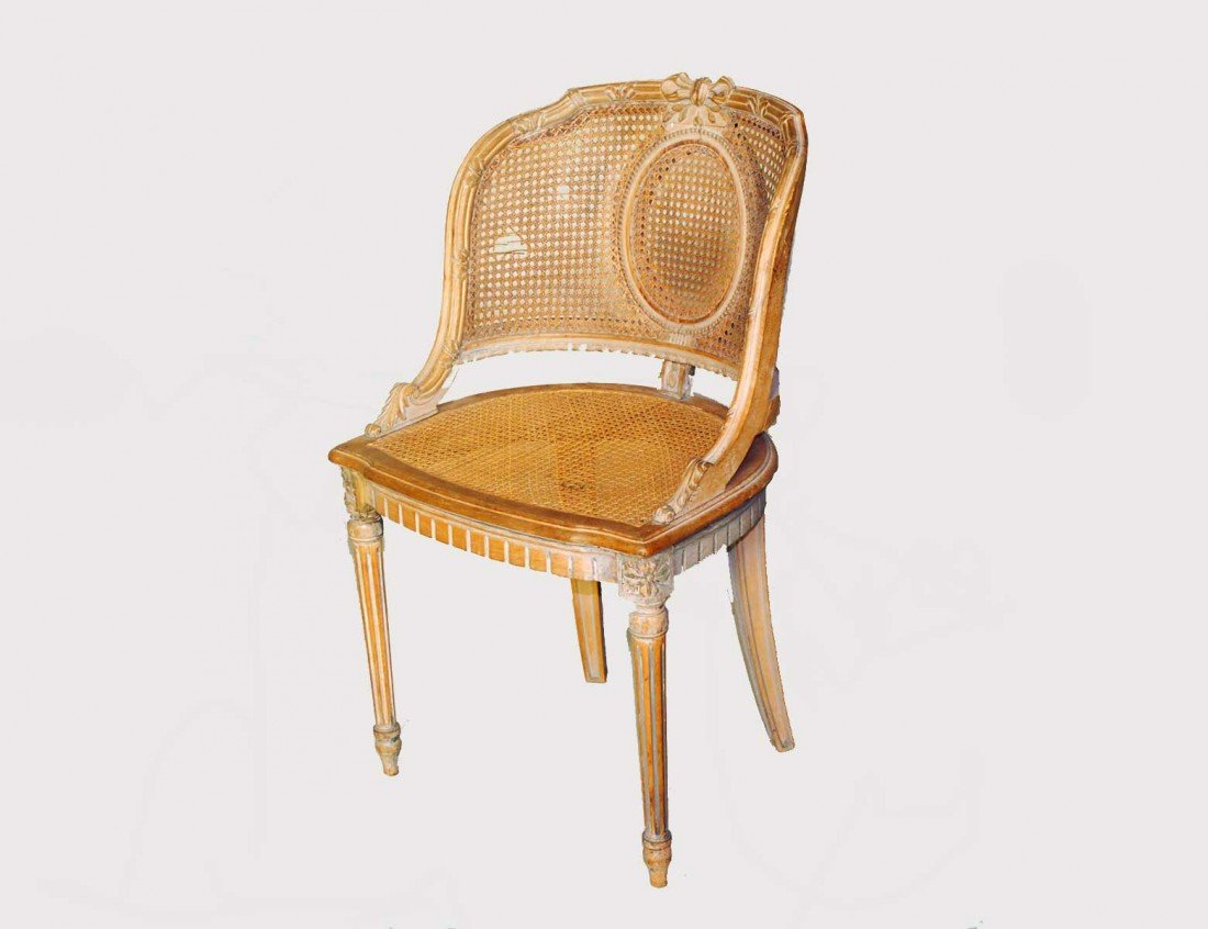 19: LOUIS XVI CARVED AND BLEACHED WOOD SIDE CHAIR