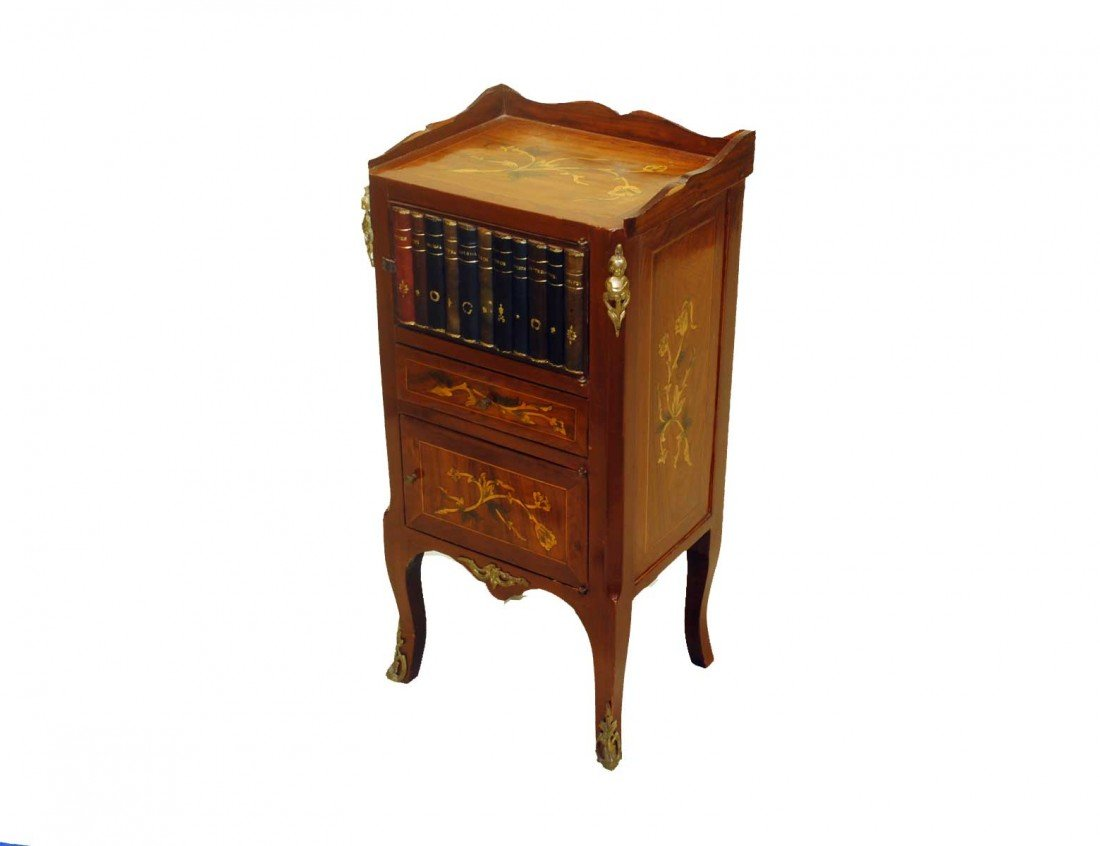 21: LOUIS XV STYLE MARQUETRY INLAID PETIT COMMODE