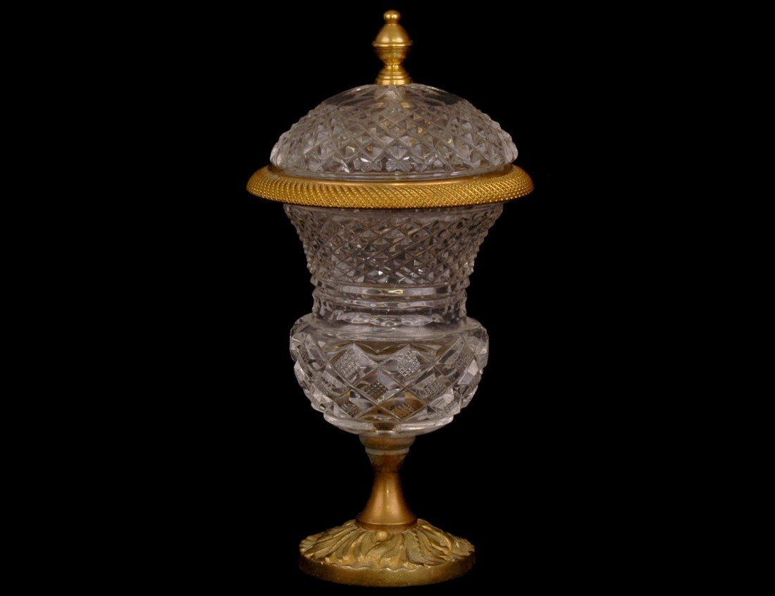 14: LOUIS XVI STY GILT BRONZE & CUT CRYSTAL URN AND COV