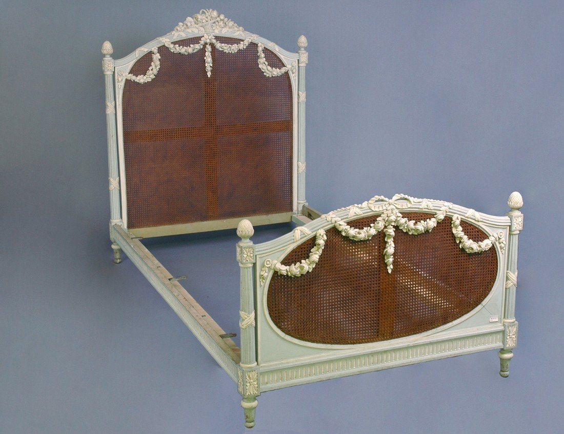 24: LOUIS XVI STYLE CARVED, CANED AND PAINTED BEDSTEAD