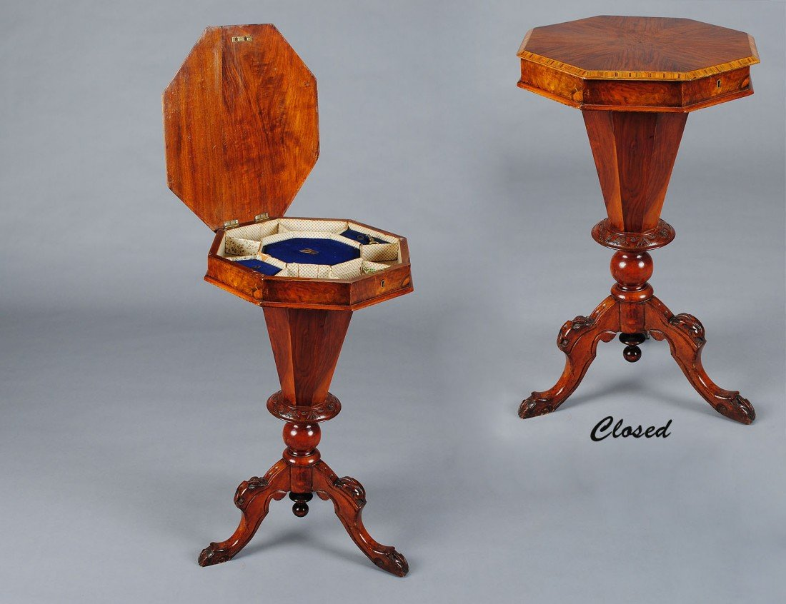 24: VICTORIAN CARVED WALNUT SEWING TABLE
