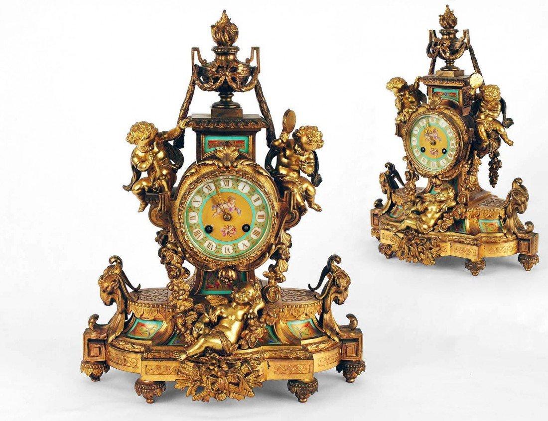 122: LOUIS XVI STYLE GILT BRONZE MANTEL CLOCK