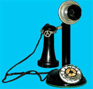 Antique Brass and Black Candlestick Telephone