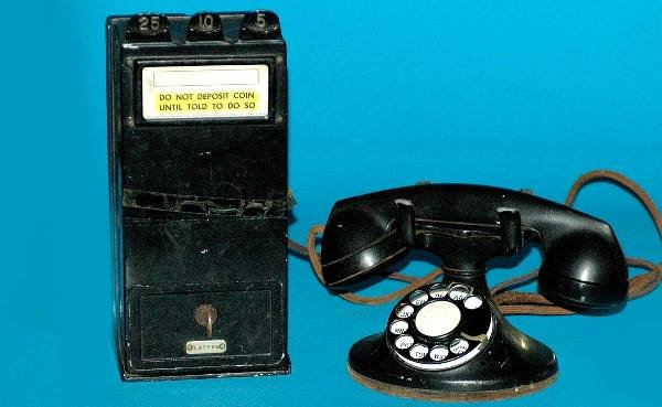 7: Antique Telephone Pay Station with Attached Phone