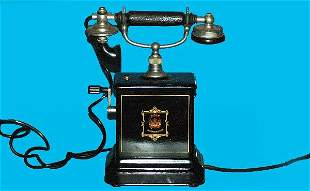 Vintage Jydsk Swedish Hand Crank Cradle Telephone