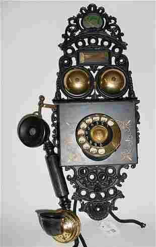Antique Danish Wrought Iron Wall Phone