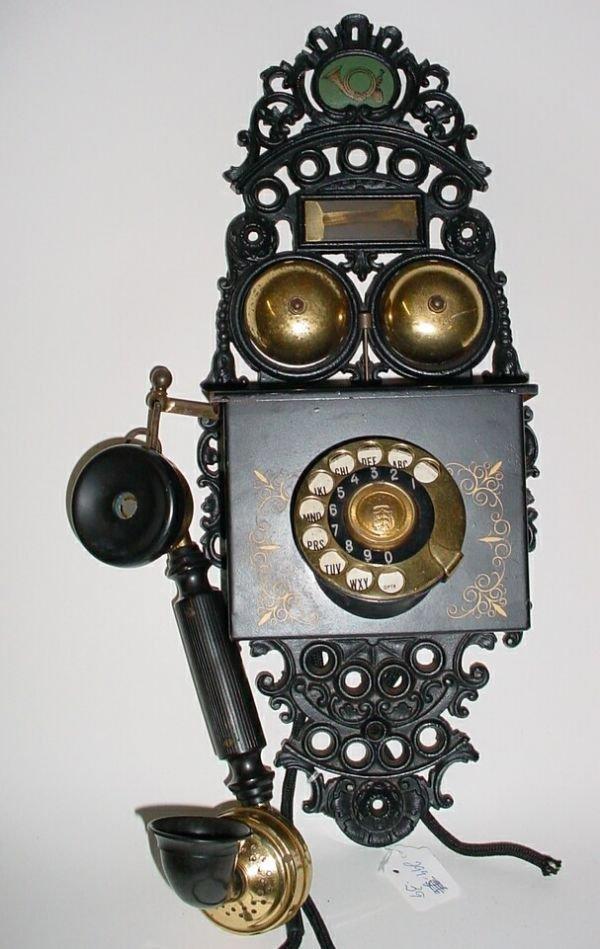 23: Antique Danish Wrought Iron Wall Phone