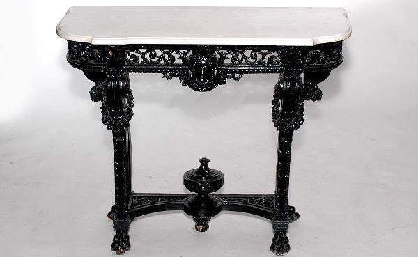 157: Marble Top Edwardian Console with Painted Black Ba