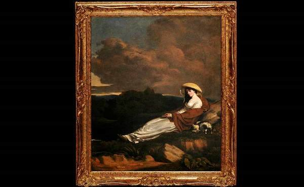278: 18th C English School Oil on Canvas Lady and Dog