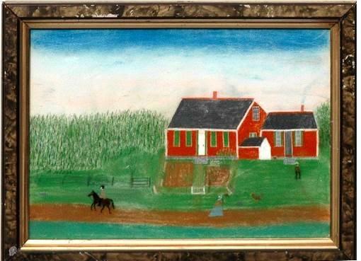 388: American School 19th C Pastel on Paper