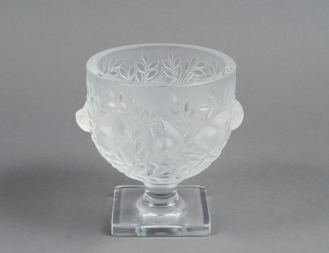 "1: LALIQUE MOLDED AND FROSTED CRYSTAL ""ELISABETH"" VASE"