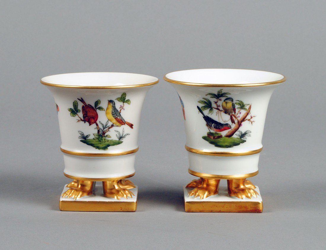 4: PAIR OF HEREND PORCELAIN CIGARETTE URNS
