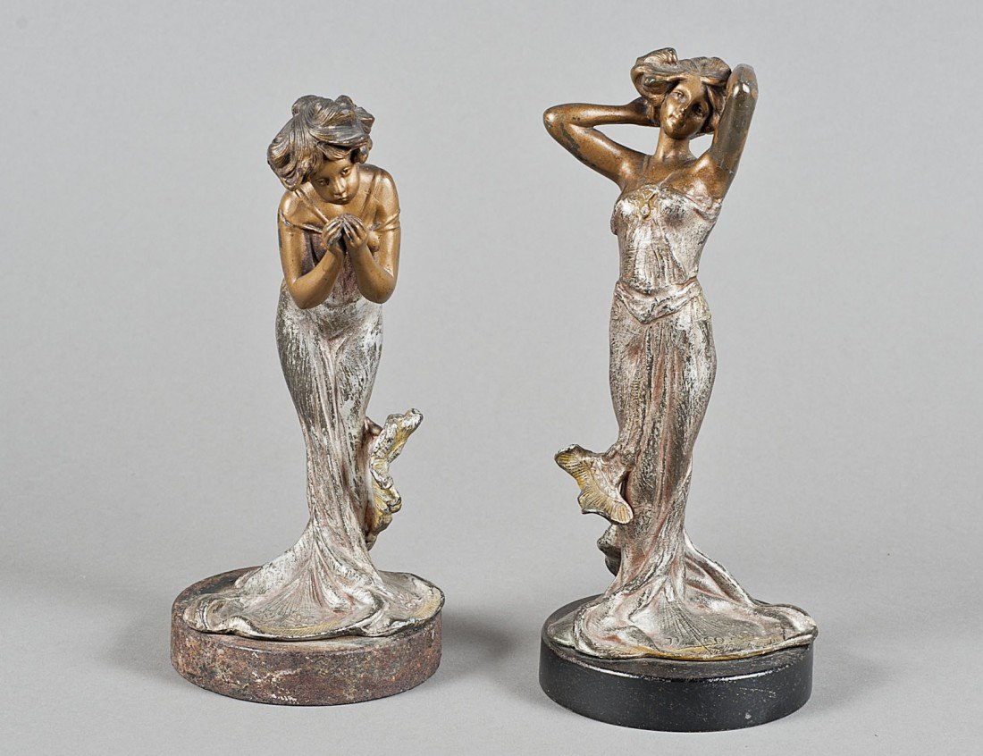 7: PAIR OF ART DECO SILVERED AND PATINATED METAL MAIDEN