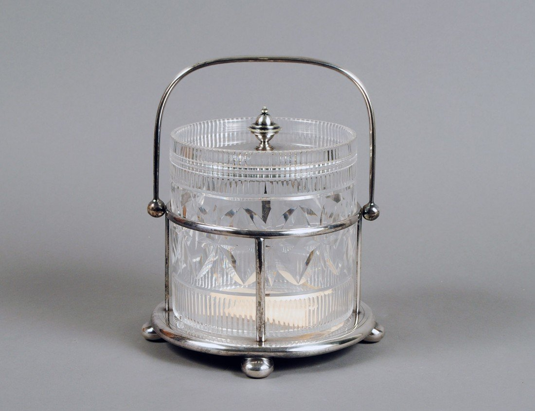 8: VICTORIAN GLASS AND SILVER PLATED BISCUIT BARREL