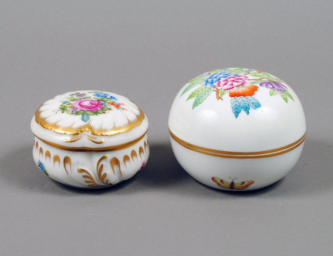 13: TWO HEREND PORCELAIN BOXES AND COVERS