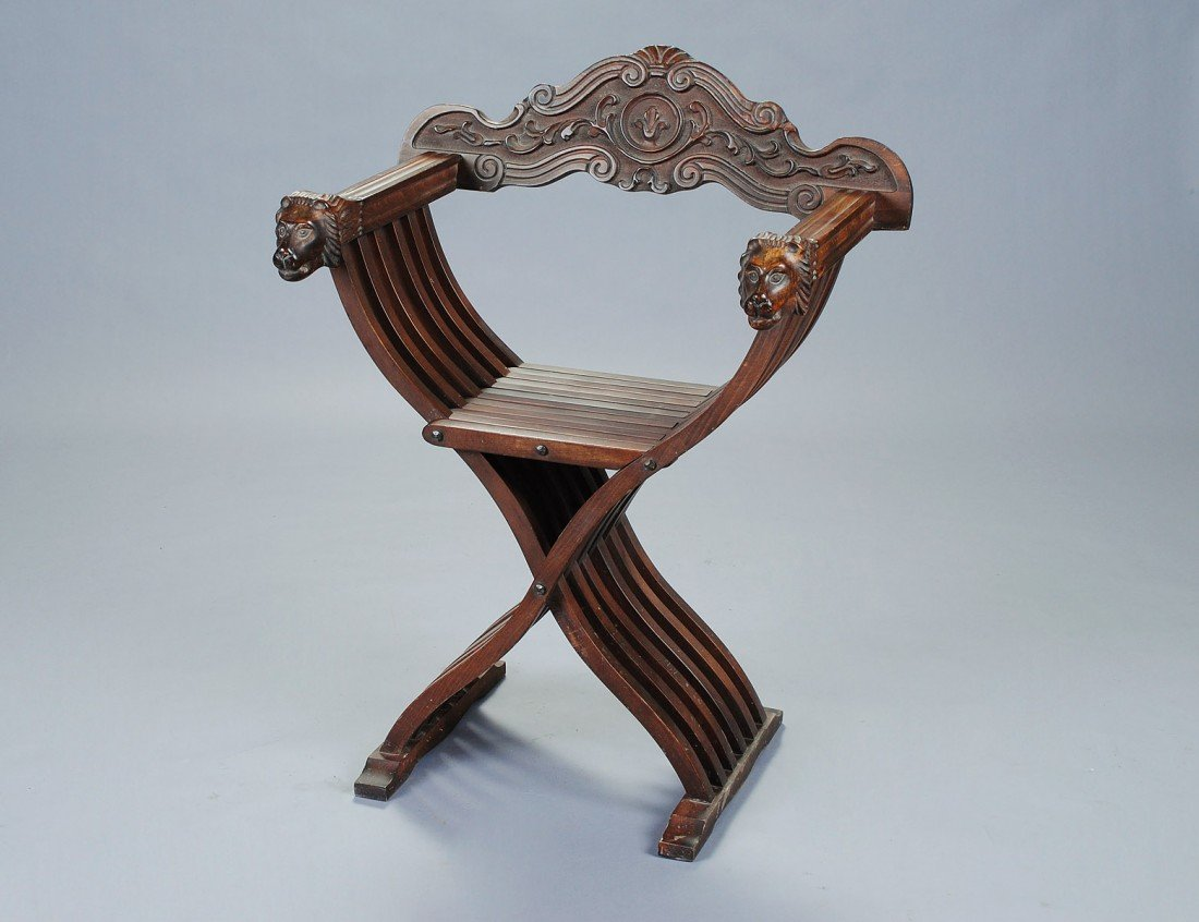 24: CARVED FRUITWOOD SAVANAROLLA CHAIR