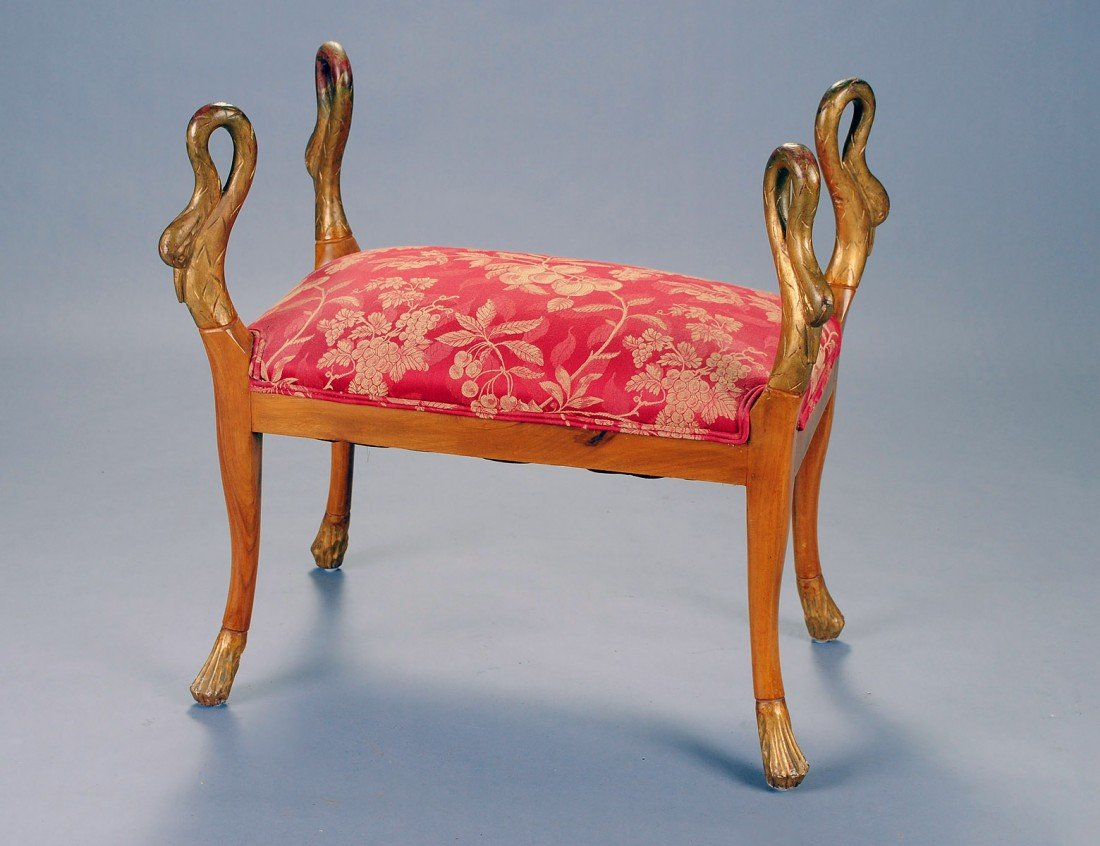 25: NEO-CLASSICAL PARCEL GILT FRUITWOOD BENCH