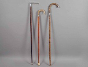 GROUP OF THREE WOOD WALKING CANES