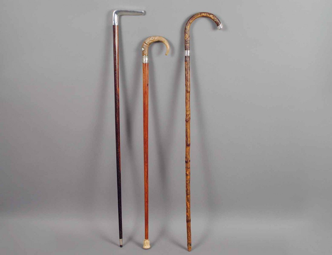 31: GROUP OF THREE WOOD WALKING CANES