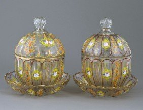GOOD PAIR OF ENAMELED GLASS BOWLS, COVERS AND STAND