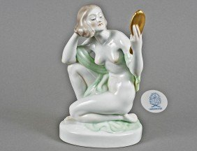 HEREND PORCELAIN FIGURE OF A NUDE