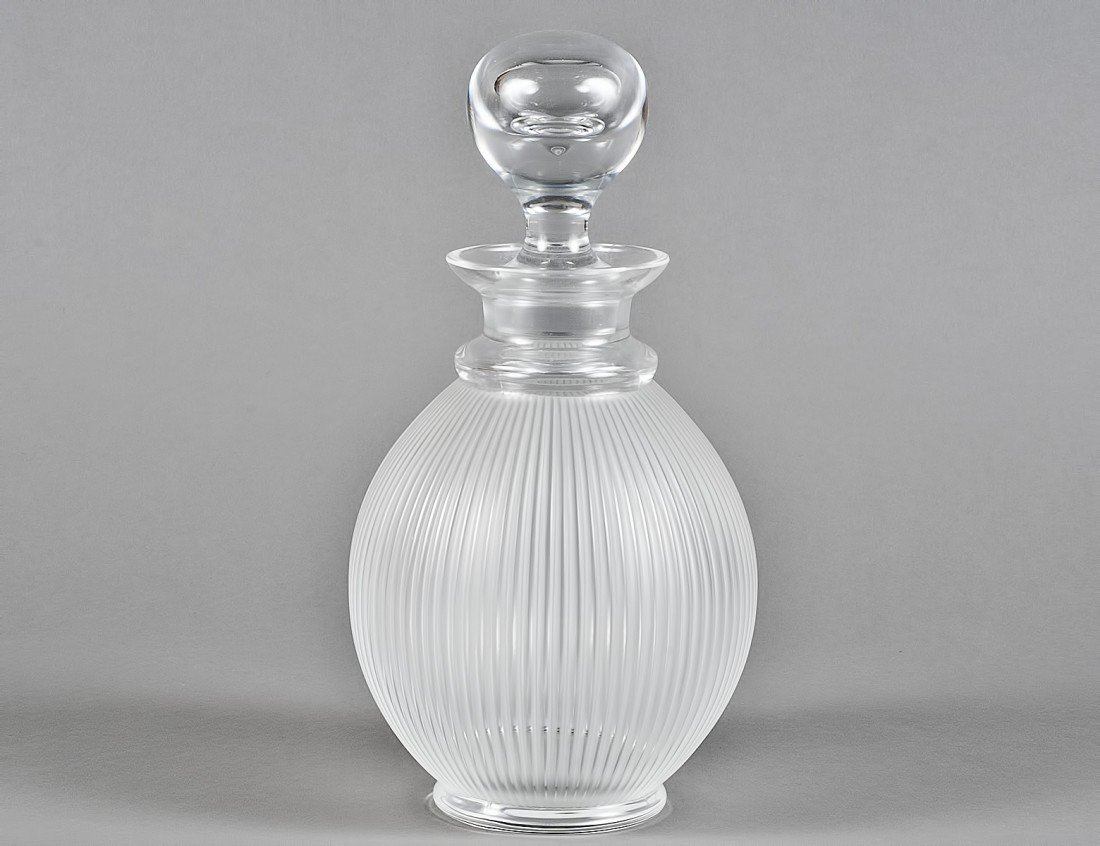 "45: LALIQUE FROSTED CRYSTAL ""LANGEAIS"" DECANTER"