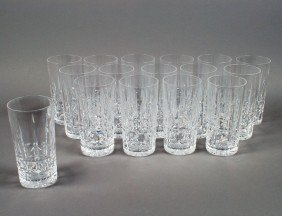 SET OF SIXTEEN WATERFORD CRYSTAL WATER GLASSES