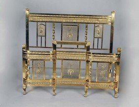 VICTORIAN STYLE BRASS HEADBOARD AND FOOTBOARD