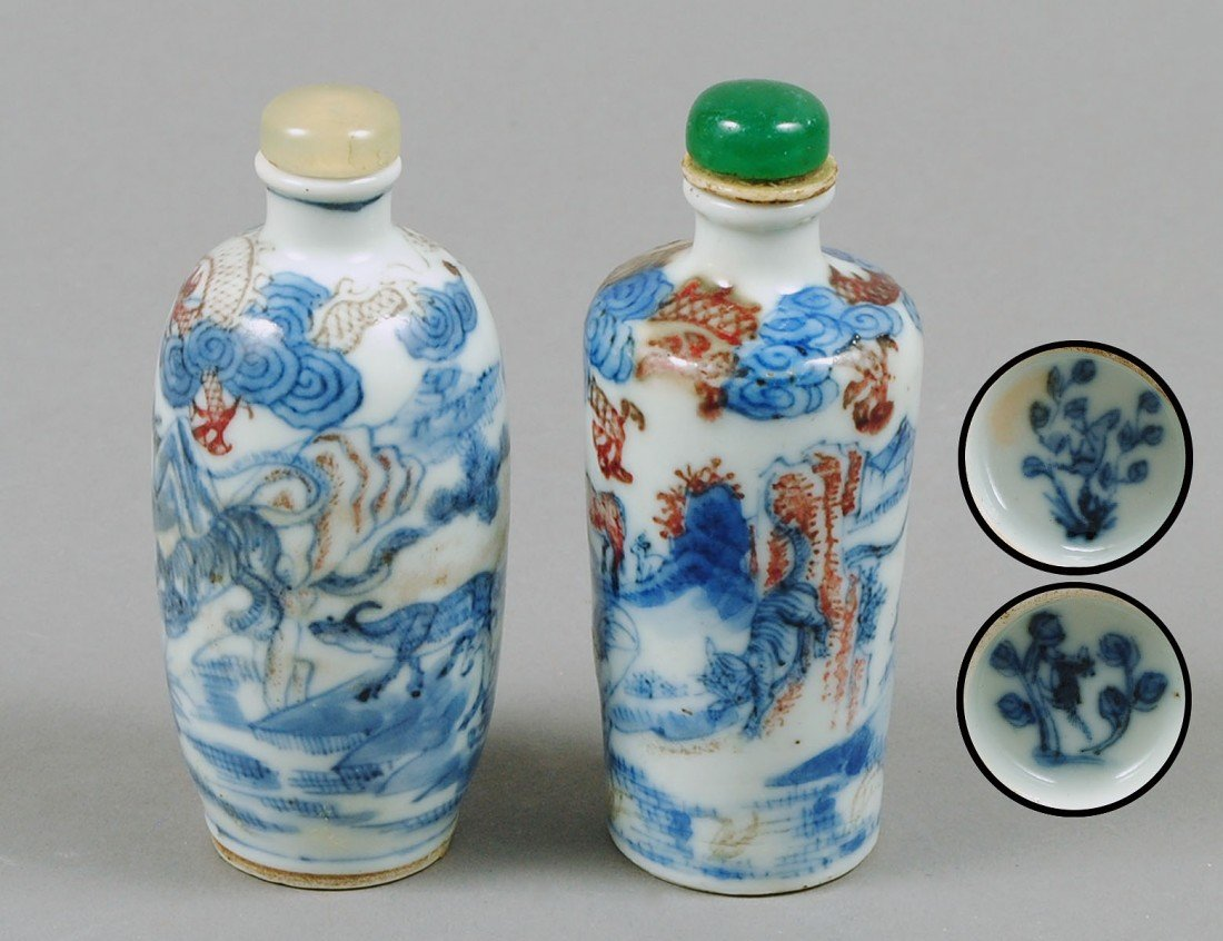 59: TWO BLUE AND WHITE PORCELAIN SNUFF BOTTLES