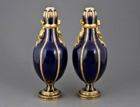PAIR OF CONTINENTAL PORCELAIN VASES