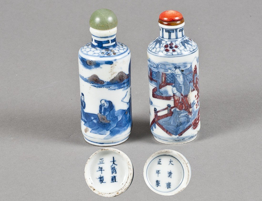 145: TWO BLUE AND WHITE PORCELAIN SNUFF BOTTLES