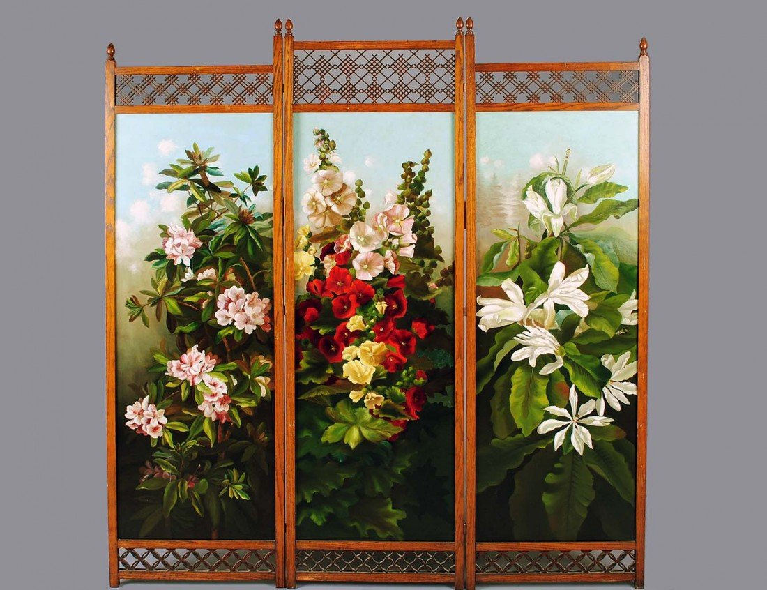 158: VICTORIAN THREE FOLD PAINTED CANVAS AND WOOD SCREE